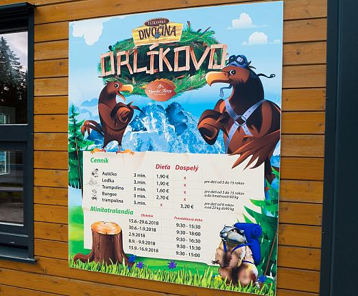 Plastová tabuľa cenník Orlíkovo