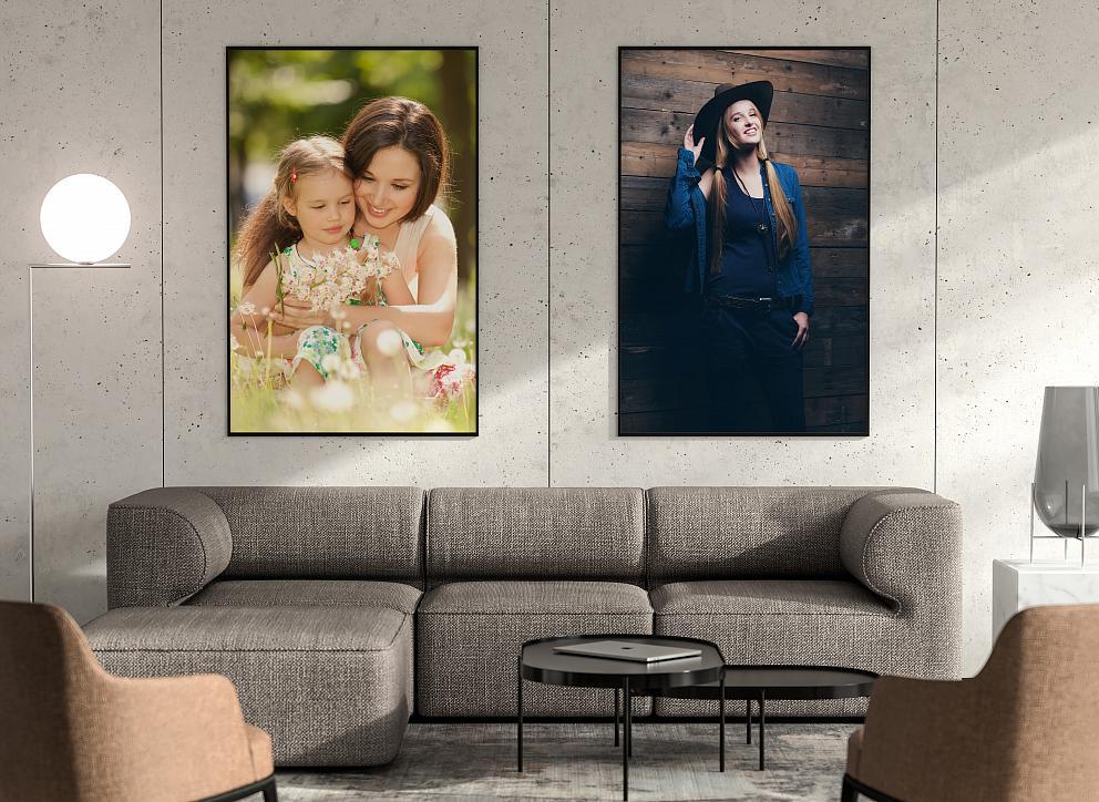 Veľkoplošné fotografie vhodne ozdobia interiér